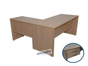 Mesa com auxiliar Style 2 gavetas