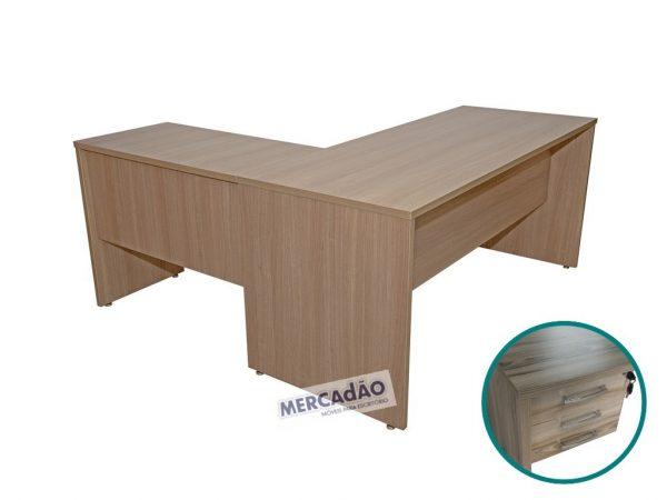 Mesa com auxiliar Style 3 gavetas