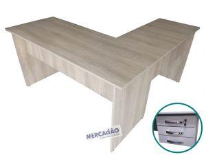 Mesa com auxiliar Domo 3 gavetas